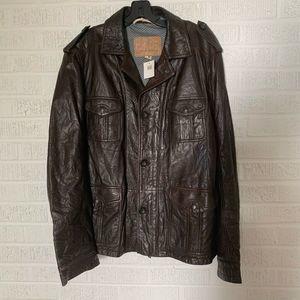 $595 Hugo Boss Jabu Biker Jacket Leather 46 R